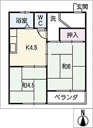 横井マンション[3階]の間取り