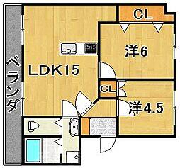 福岡県北九州市小倉北区篠崎2の賃貸マンションの間取り