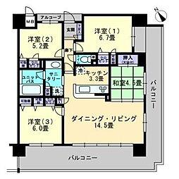 アルファステイツ倉敷駅前公園通りII[9階]の間取り