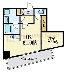 福岡市地下鉄七隈線 薬院大通駅 徒歩5分の賃貸マンション 9階1DKの間取り