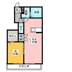 プランドール富士A館[1階]の間取り