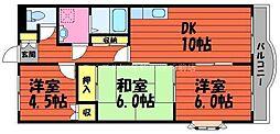 岡山県倉敷市日吉町の賃貸マンションの間取り