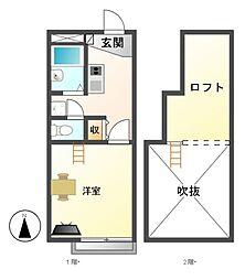 レオパレスM&Y中郷[2階]の間取り