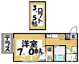 福岡県大野城市栄町2丁目の賃貸アパートの間取り