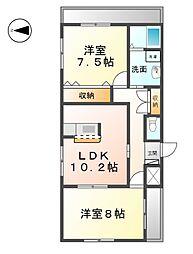 愛知県あま市西今宿山伏一の賃貸アパートの間取り