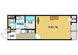 奈良県香芝市五位堂4丁目の賃貸アパートの間取り