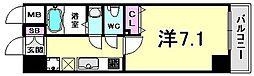 アドバンス三宮VIクレスト 2階1Kの間取り