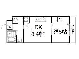 京阪本線 龍谷大前深草駅 徒歩7分の賃貸マンション 3階1LDKの間取り