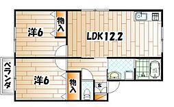 福岡県中間市中尾2丁目の賃貸アパートの間取り
