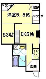 ハビタ4番館[2B号室]の間取り