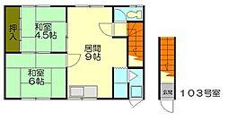 北海道小樽市オタモイ1丁目の賃貸アパートの間取り