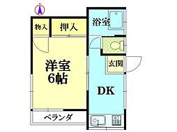 三栄荘[2階部分号室]の間取り
