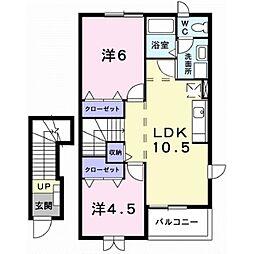 静岡県伊豆の国市南江間の賃貸アパートの間取り