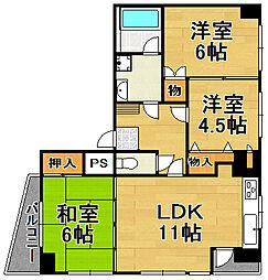 兵庫県宝塚市谷口町2丁目の賃貸マンションの間取り