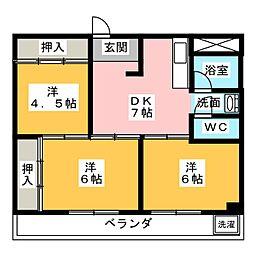 西川マンション[2階]の間取り