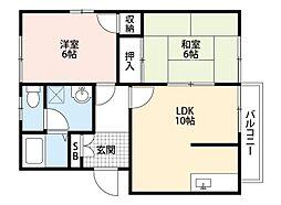 福岡県直方市大字感田の賃貸アパートの間取り
