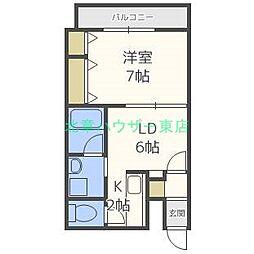 北海道札幌市東区北三十四条東10丁目の賃貸マンションの間取り