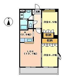 ウィステリア ドゥオ[2階]の間取り