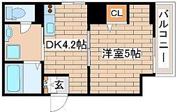 神戸市海岸線 ハーバーランド駅 徒歩9分の賃貸マンション 1階1DKの間取り