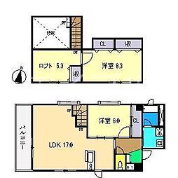 ClareFujimoto北棟(クレアフジモト)[6階]の間取り