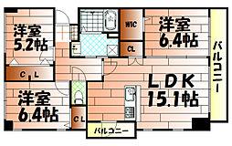 ザ・スクエアスイートレジデンス[7階]の間取り