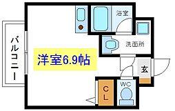 JR総武線 亀戸駅 徒歩13分の賃貸マンション 2階ワンルームの間取り