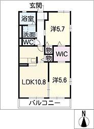 ル・アージュ B棟[2階]の間取り