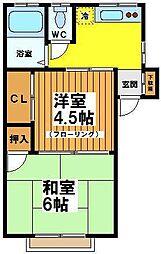 東京都杉並区大宮1丁目の賃貸アパートの間取り