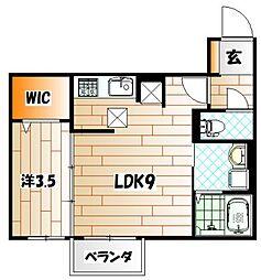 福岡県北九州市戸畑区中原西1丁目の賃貸アパートの間取り