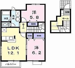 高松琴平電気鉄道琴平線 陶駅 徒歩9分の賃貸アパート 2階2LDKの間取り