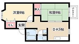 愛知県名古屋市天白区植田山5丁目の賃貸アパートの間取り