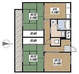ビレッジハウス秋多[3-203号室]の間取り