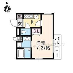 叡山電鉄叡山本線 茶山駅 徒歩5分の賃貸マンション 2階1Kの間取り