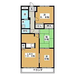 ブルースカイマンションII[3階]の間取り