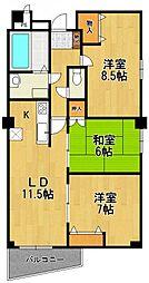 福々邸壱番館[6階]の間取り