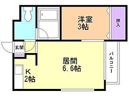 グランメール弘道館第1 3階1LDKの間取り