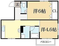 トランセント下鴨[3階]の間取り