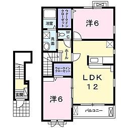 南海高野線 金剛駅 徒歩19分の賃貸アパート 2階2LDKの間取り