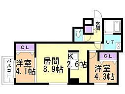 ラ・コーザ豊平EAST 4階2LDKの間取り