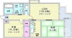 赤石マンション 2階2LDKの間取り