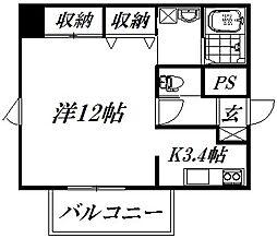 遠州鉄道 八幡駅 徒歩7分の賃貸マンション 7階1Kの間取り