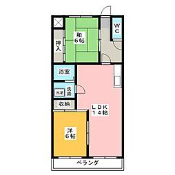 マンションツルミ[3階]の間取り