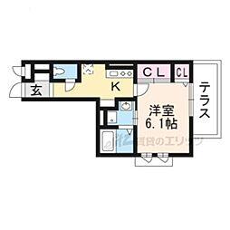 仮称)南区久世中久世町5丁目共同住宅B 1階1Kの間取り
