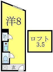 JR山手線 大塚駅 徒歩9分の賃貸マンション 1階ワンルームの間取り