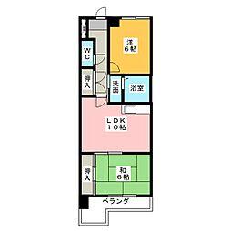 愛知県名古屋市西区南川町の賃貸マンションの間取り