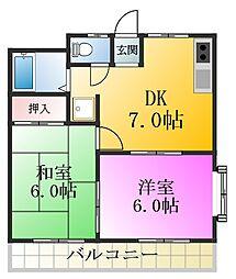 第三清水マンション[2階]の間取り