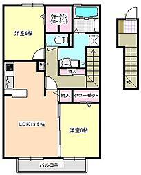 三重県四日市市生桑町の賃貸アパートの間取り