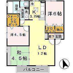 兵庫県明石市船上町の賃貸アパートの間取り