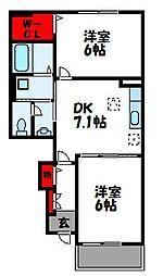 JR鹿児島本線 東郷駅 徒歩19分の賃貸アパート 1階2DKの間取り