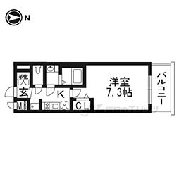 京都市営烏丸線 十条駅 徒歩3分の賃貸マンション 4階1Kの間取り